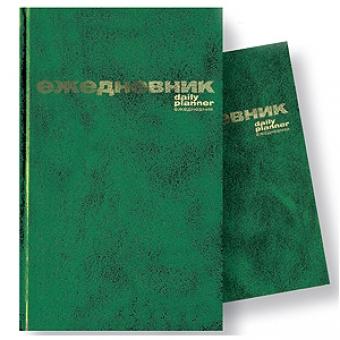 Ежедневник недатированный Бумвинил, А6, зеленый, белый блок, без обреза, твердый переплет