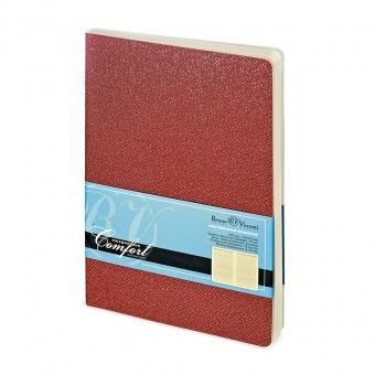 Ежедневник недатированный Comfort, А5, красный, бежевый блок, без обреза, ляссе