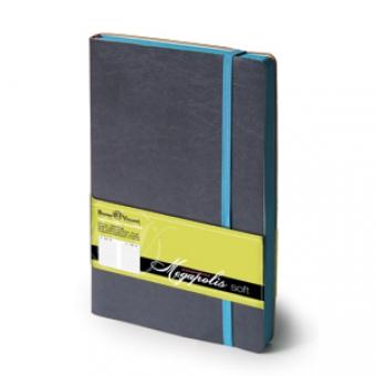 Ежедневник недатированный Megapolis Soft, А5, темно-серый, бежевый блок, контрастный обрез, ляссе
