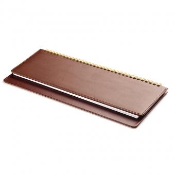 Планинг недатированный, Velvet, коричневый, 305х130 мм, белый блок, открытый гребень
