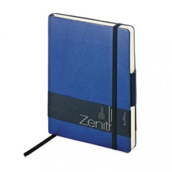 Ежедневник недатированный Zenith, темно-синий, В6, бежевый блок, без обреза, ляссе, на резинке