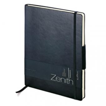 Ежедневник недатированный Zenith, черный, В5, бежевый блок, без обреза, ляссе, на резинке