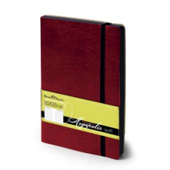 Ежедневник недатированный Megapolis Soft, А5, бордовый, бежевый блок, контрастный обрез, ляссе