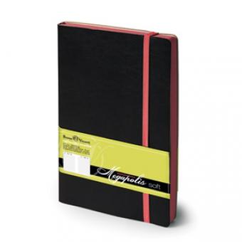 Ежедневник недатированный Megapolis Soft, А5, черный, бежевый блок, контрастный обрез, ляссе