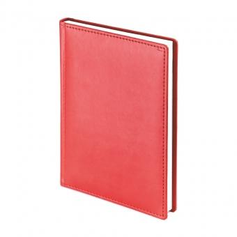 Ежедневник недатированный Velvet А5, красный, белый блок, без обреза