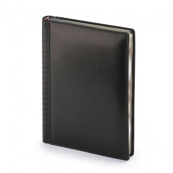 Ежедневник недатированный Image, А5, черный, бежевый блок, золотой обрез, ляссе
