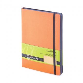 Блокнот без линовки Megapolis Soft, А5, оранжевый, бежевый блок, контрастный с обложкой обрез, ляссе