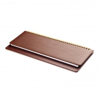Планинг датированный, Velvet, коричневый, 305х130 мм, белый блок, открытый гребень