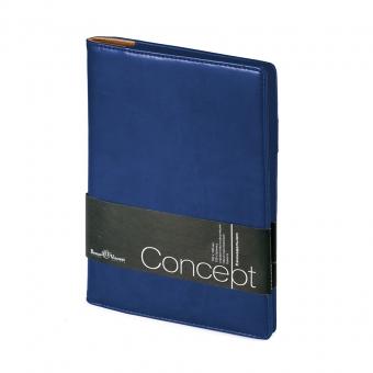 Еженедельник недатированный Concept, А5, темно-синий, бежевый блок, без обреза