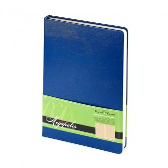 Ежедневник недатированный Megapolis, А5, синий, бежевый блок, без обреза, ляссе