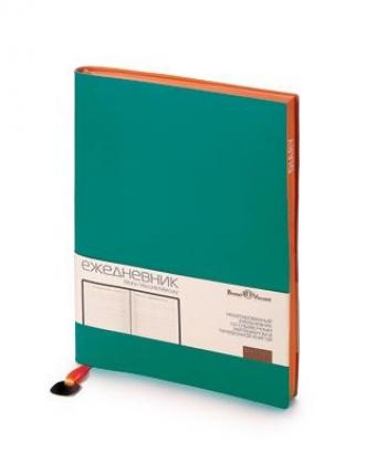 Ежедневник недатированный Mercury, морская волна, А5, белый блок, оранжевый обрез, ляссе с шильдом