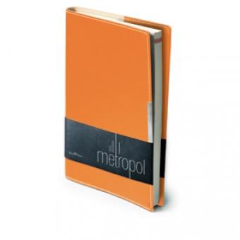 Ежедневник недатированный Metropol, А5, оранжевый, бежевый блок, металлический шильдик, без обреза