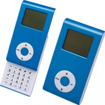 Калькулятор раздвижной с календарем и часами; синий; 9,6х5х1,4 см; пластик; тампопечать