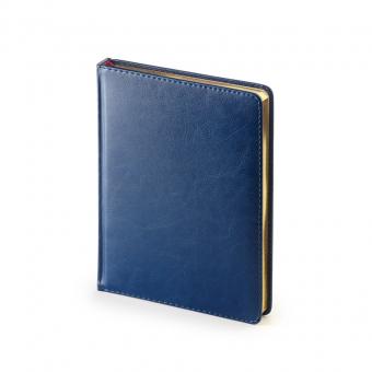 Ежедневник недатированный Sidney Nebraska, А6+, синий, белый блок, золотой обрез, ляссе