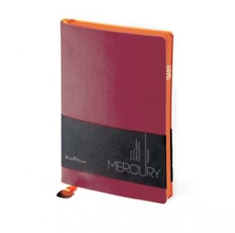 Ежедневник недатированный Mercury, А6, бордовый, белый блок, оранжевый обрез, два ляссе