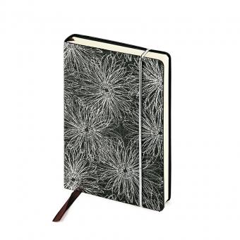 Ежедневник недатированный SAN REMO, А6, черный с серебром, бежевый блок, без обреза, ляссе