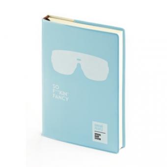 Ежедневник недатированный Crazy, А6, голубой, бежевый блок, без обреза, ляссе