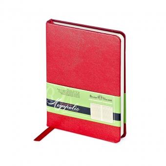 Ежедневник недатированный Megapolis, А6, красный, бежевый блок, без обреза, ляссе
