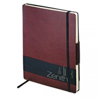 Ежедневник недатированный Zenith, бордовый, В5, бежевый блок, без обреза, ляссе, на резинке