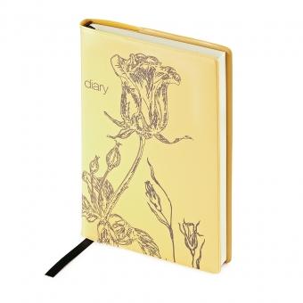 Ежедневник недатированный Flowers, А6, оранжевый, бежевый блок, без обреза, ляссе