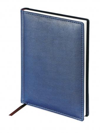 Ежедневник недатированный Leader, А6+, синий, белый блок, без обреза, ляссе