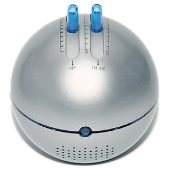 """FM/AM-радио """"Метеор"""" с подсветкой и динамиком; серебристый; D=9,5 см; H=10,5 см; пластик; тампопечат"""