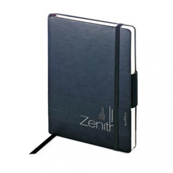Ежедневник недатированный Zenith, черный, В6, бежевый блок, без обреза, ляссе, на резинке