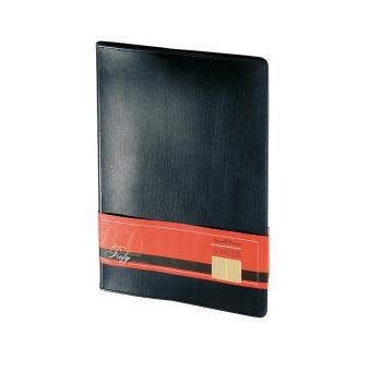 Еженедельник портфолио недатированный Profy, А4, черный, бежевый блок, золотой обреза, ляссе