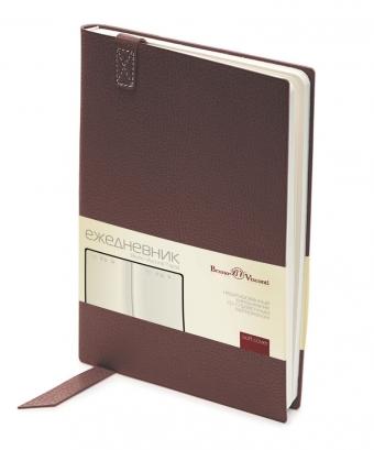 Ежедневник недатированный Trend, коричневый, А5, бежевый блок, без обреза, ляссе