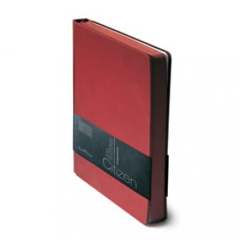Ежедневник недатированный New Citizen, А5, бордовый, белый блок, бордовый обрез, ляссе