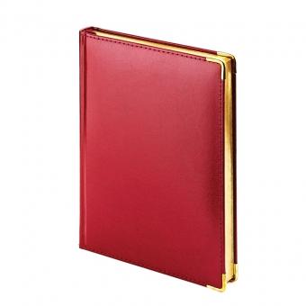 Ежедневник полудатированный Imperium, А5+, бордовый, бежевый блок, золотой обрез, два ляссе, карта