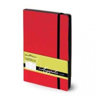 Ежедневник недатированный Megapolis Soft, А5, красный, бежевый блок, контрастный обрез, ляссе