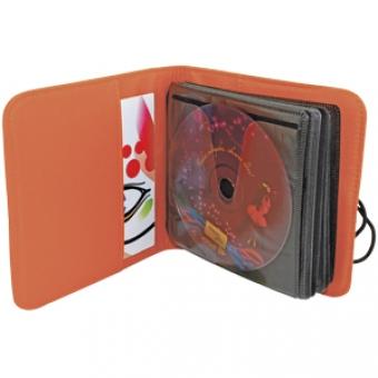 """CD-холдер """"UNION"""" для 24 дисков; оранжевый; 15,5х15х2 см; полиэстер; шелкография, лазерн. гравировка"""