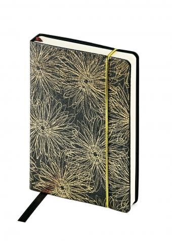 Ежедневник недатированный SAN REMO, А5, черный с золотом, бежевый блок, без обреза, ляссе