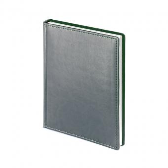Ежедневник недатированный Velvet, А6+, серый, белый блок, без обреза, ляссе