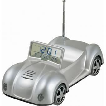 """FM-радио """"Кабриолет"""" с часами и календарем; серебристый; 17х8х7,2 см; пластик; тампопечать"""