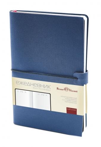 Ежедневник недатированный Bravo, синий, А5, белый блок, без обреза, ляссе