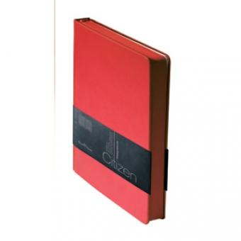 Ежедневник недатированный New Citizen, А5, красный, белый блок, красный обрез, ляссе