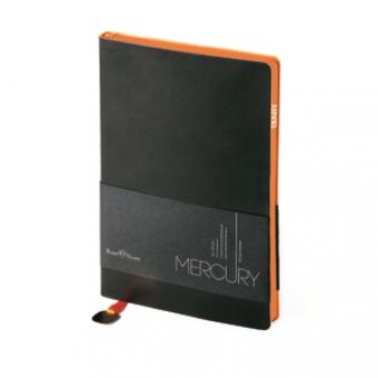 Ежедневник недатированный Mercury, черный, А5, белый блок, оранжевый обрез, ляссе с шильдом