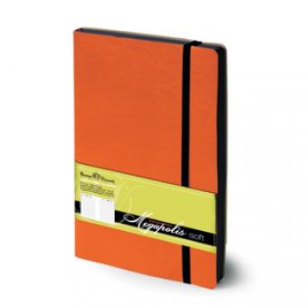 Ежедневник недатированный Megapolis Soft, А5, оранжевый, бежевый блок, контрастный обрез, ляссе