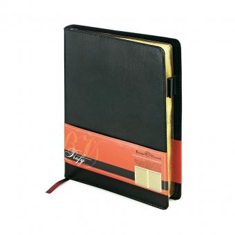 Ежедневник портфолио полудатированный Profy, А5, черный, бежевый блок, золотой обреза, ляссе