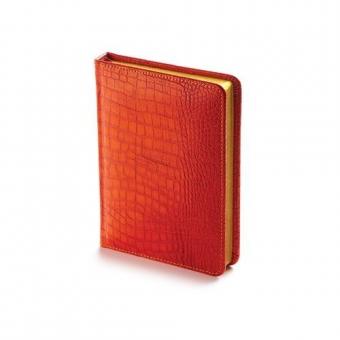 Ежедневник недатированный Manhattan, А6, оранжевый, бежевый блок, золотой обрез, ляссе