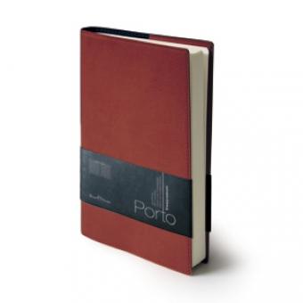 Ежедневник портфолио полудатированный Porto, А5, бордовый, бежевый блок, без обреза,