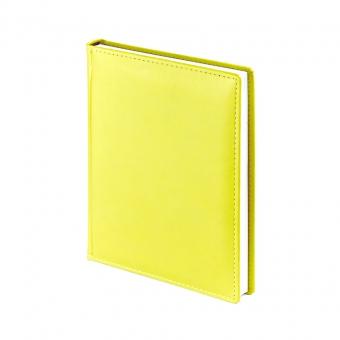 Ежедневник недатированный Velvet, А6+, желтый, белый блок, без обреза, ляссе
