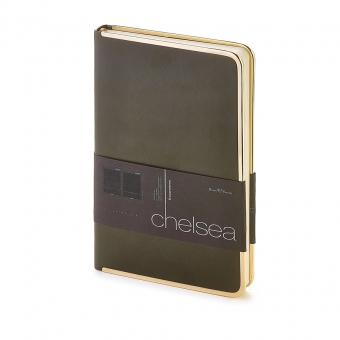 Ежедневник недатированный Chelsea, А5, темно-серый, бежевый блок, золотой обрез, ляссе