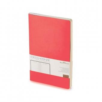 Ежедневник недатированный Megapolis Flex, А5, красный, бежевый блок, без обреза