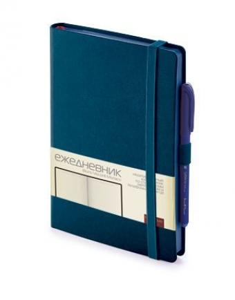 Ежедневник недатированный Monaco, А5, темно-синий, бежевый блок, синий обрез, ляссе