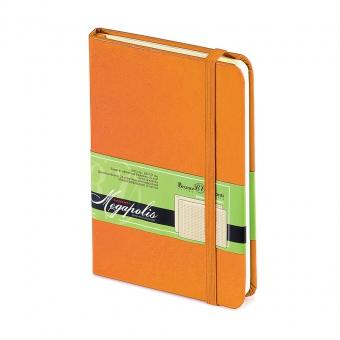 Ежедневник-блокнот недатированный Megapolis-Journal, А6, оранжевый бежевый блок, без обреза
