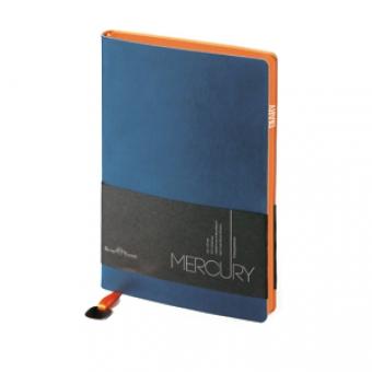 Ежедневник недатированный Mercury, темно-синий, А5, белый блок, оранжевый обрез, ляссе с шильдом