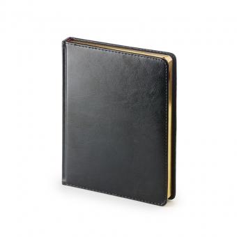 Ежедневник недатированный Sidney Nebraska, А6+, черный, белый блок, золотой обрез, ляссе